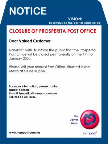 Prosperita Post Office Closing